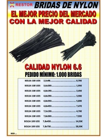 Brida nylon negra 7.8-300 mm bolsa 100 uds